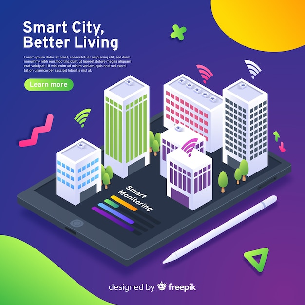 Smart city isometrica Vettore gratuito