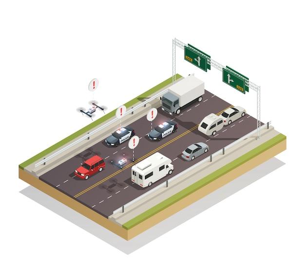 Smart city traffic isometric Vettore gratuito