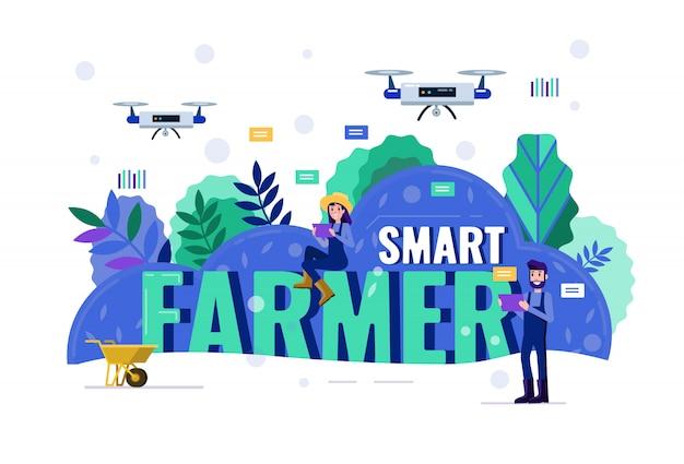 Smart contadino che naviga drone sopra terreni agricoli. Vettore Premium