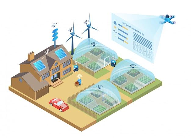 Smart farm. analisi dei dati e gestione agricola Vettore Premium