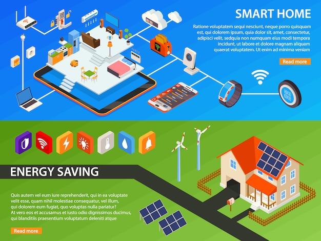 Smart home 2 isometric banners design Vettore gratuito