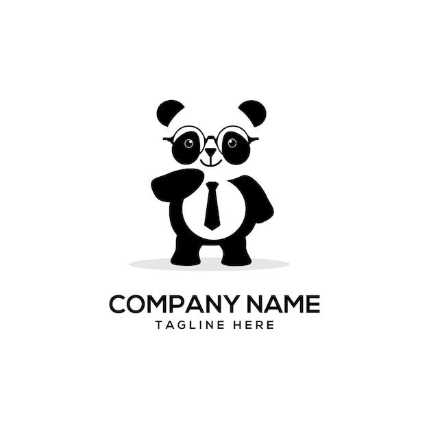 Smart panda logo carino Vettore Premium