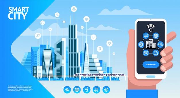 Smart phone della tenuta della mano con connessione di rete Vettore Premium