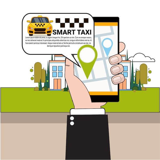 Smart phone di ordinazione dello smart phone della tenuta della mano con l'app mobile Vettore Premium