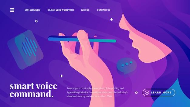 Smartphone a comando vocale Vettore Premium