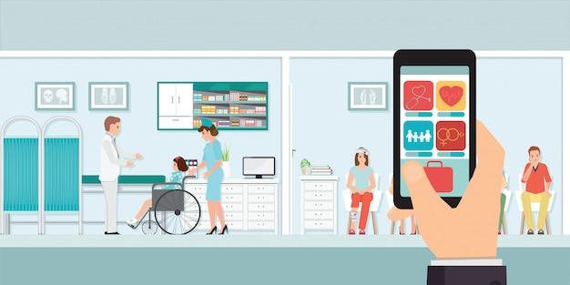 Smartphone app medica innovativa con ospedale. Vettore Premium