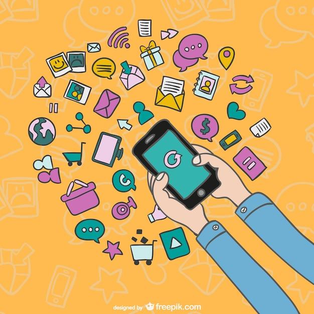 Smartphone cartone animato con icone scaricare vettori