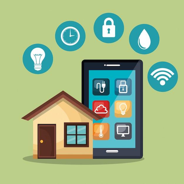 Smartphone che controlla casa intelligente Vettore gratuito
