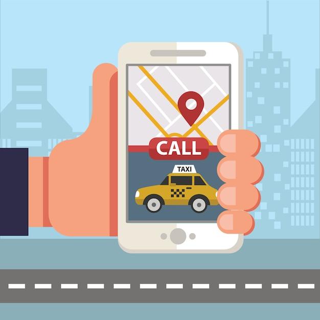 Smartphone che ordina taxi tramite app mobile Vettore Premium
