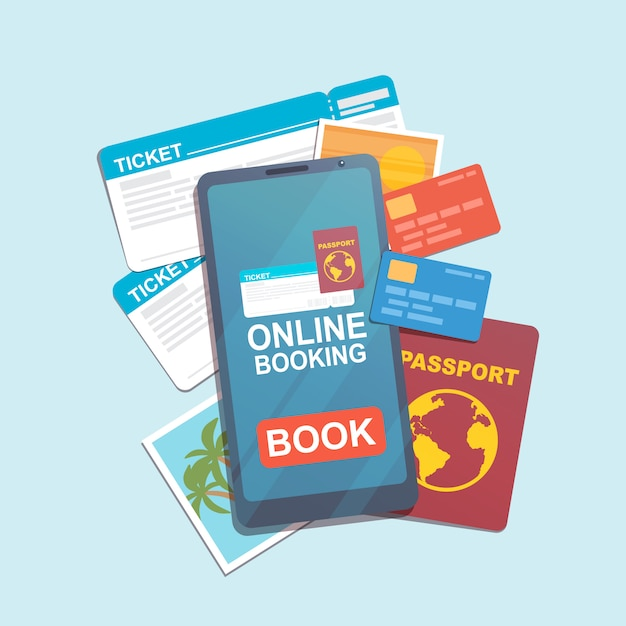 Smartphone con app di prenotazione online, biglietti, carte di credito, passaporto e foto Vettore Premium