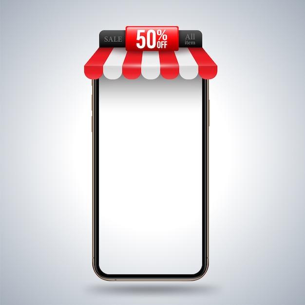 Smartphone con banner del negozio di tetto per la pubblicità promozionale Vettore Premium