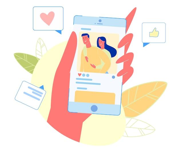 Smartphone con coppia di innamorati felici sullo schermo. Vettore Premium