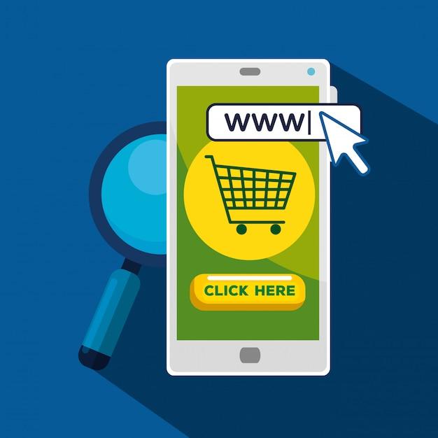 Smartphone con cursore puntatore a freccia e barra di ricerca Vettore gratuito