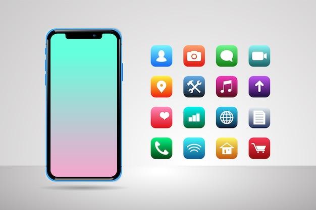 Smartphone con display realistico con alcune app Vettore gratuito