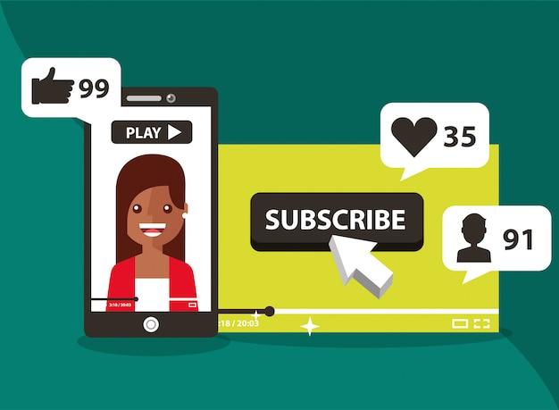 Smartphone con donna sullo schermo iscriviti come segui l'amore Vettore Premium