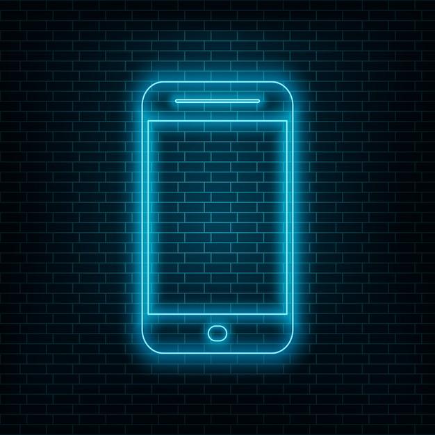 Smartphone con effetto neon, telefono neon blu sul muro Vettore Premium