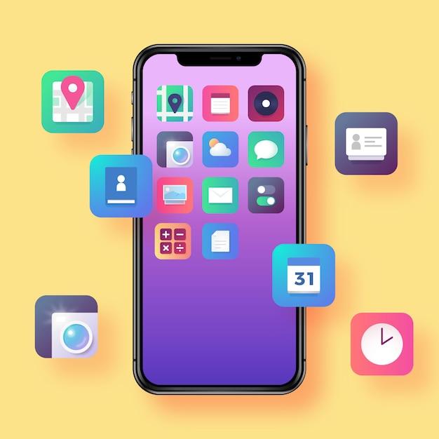 Smartphone con icone di app Vettore Premium