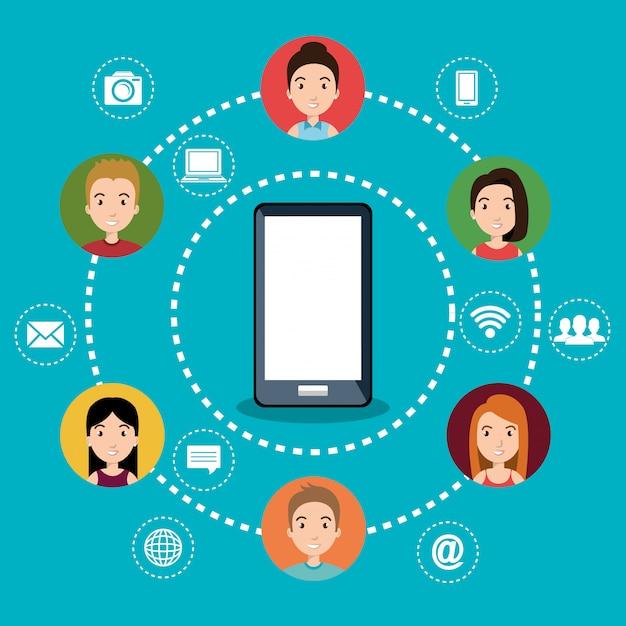 Smartphone con icone di social network Vettore gratuito