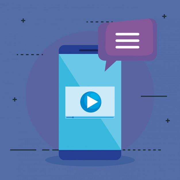Smartphone con icone seo Vettore gratuito