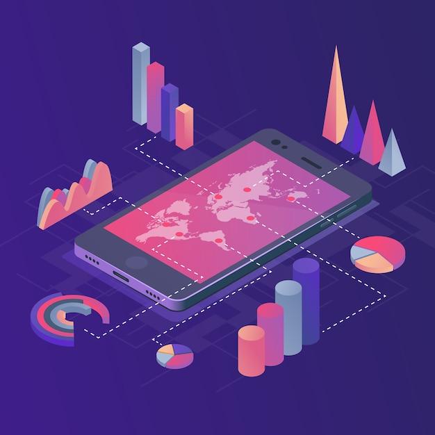 Smartphone con infografica aziendali. Vettore Premium