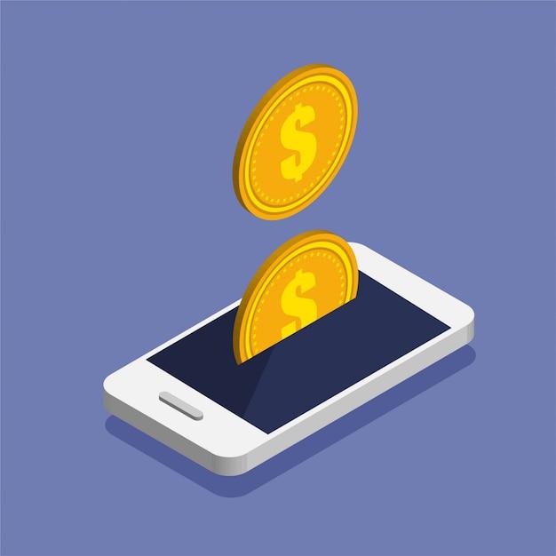 Smartphone con l'icona della moneta da un dollaro in stile isometrico alla moda. Vettore Premium