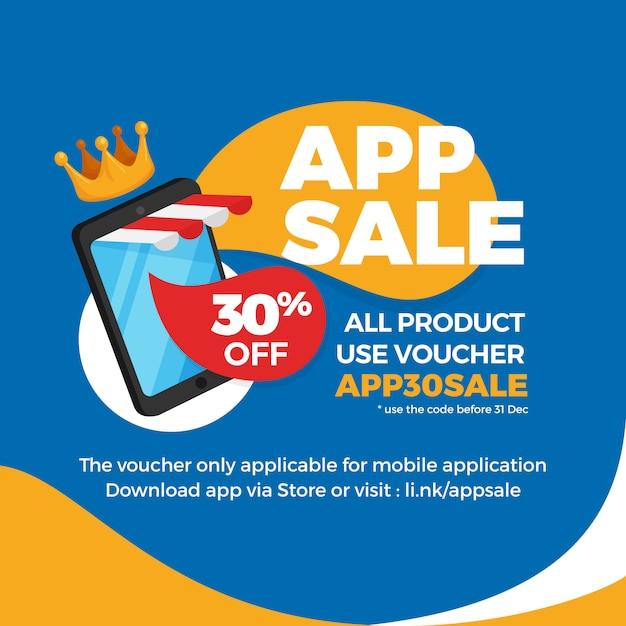Smartphone con tenda a righe negozio per la vendita di app e-commerce, promozione banner sconto buono. Vettore Premium