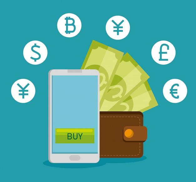 Smartphone con valuta finanziaria di scambio virtuale Vettore gratuito