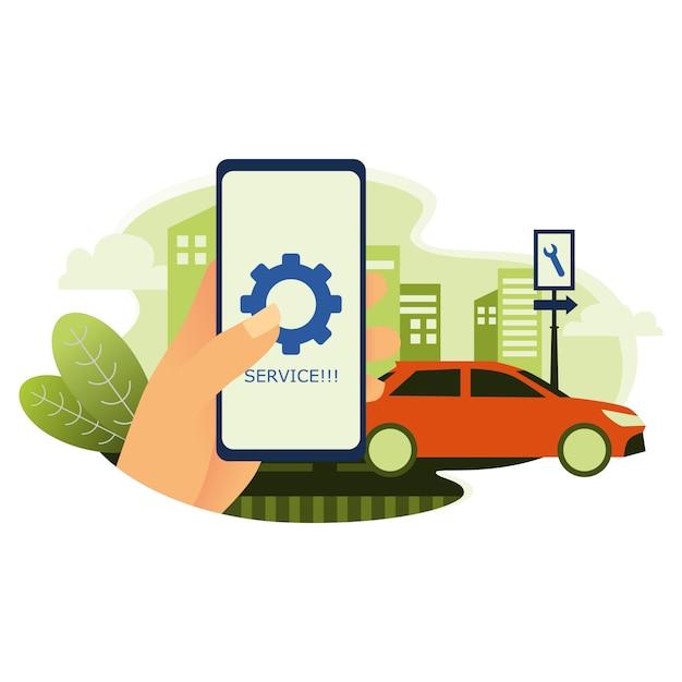 Smartphone dà un promemoria per il servizio di auto Vettore Premium