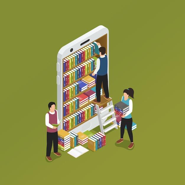 Smartphone e-learning isometrico Vettore gratuito