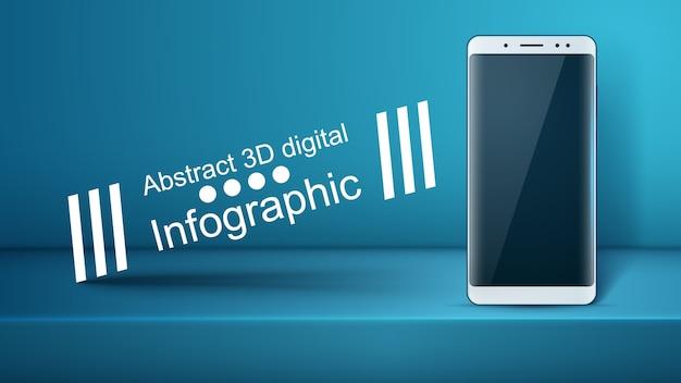 Smartphone, gadget digitale - infografica di affari. Vettore Premium