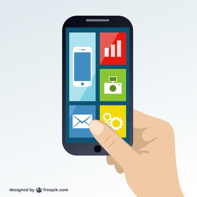 Smartphone in mano libera vettore Vettore gratuito
