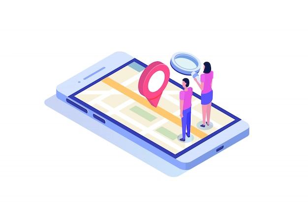 Smartphone isometrico 3d con applicazione mobile gps. illustrazione. Vettore Premium