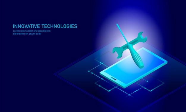 Smartphone isometrico di riparazione di servizio informatico, tecnico piano blu 3d Vettore Premium