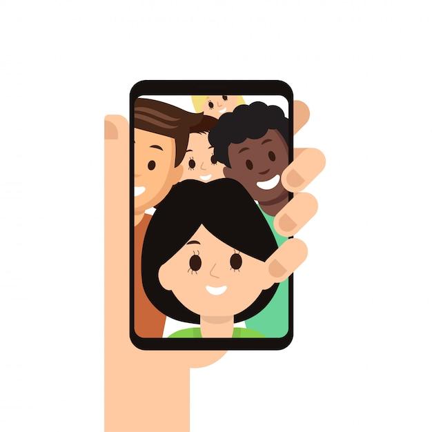 Smartphone moderno con gli amici immagine sullo schermo Vettore Premium