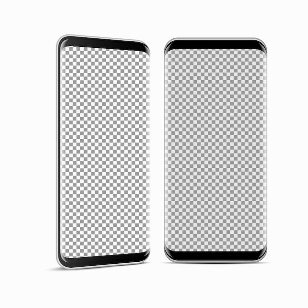 Smartphone moderno stile realistico, telaio del telefono cellulare con display vuoto Vettore Premium