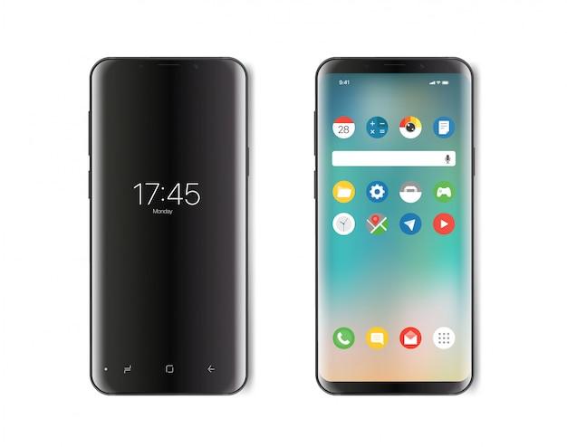 Smartphone moderno. versione schermo acceso e spento Vettore Premium