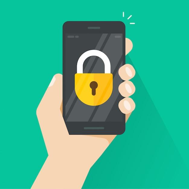 Smartphone o cellulare in mano con l'icona di blocco sullo schermo Vettore Premium