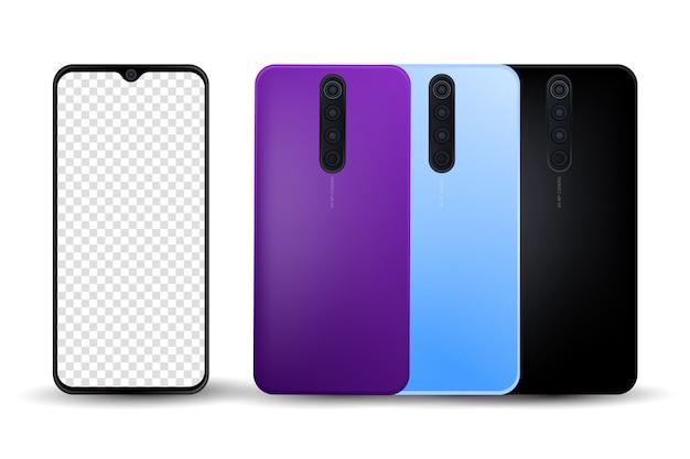 Smartphone pro realistico realistico Vettore Premium