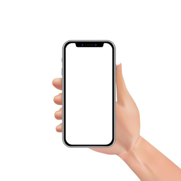 Smartphone realistico della tenuta della mano con lo schermo attivabile al tatto in bianco o vuoto isolato Vettore Premium
