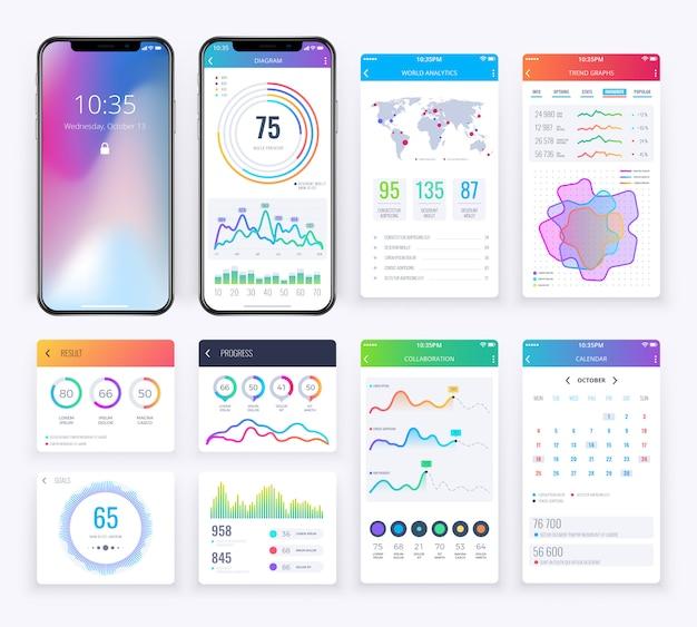 Smartphone ui impostato con grafici aziendali di dati per app mobile Vettore Premium
