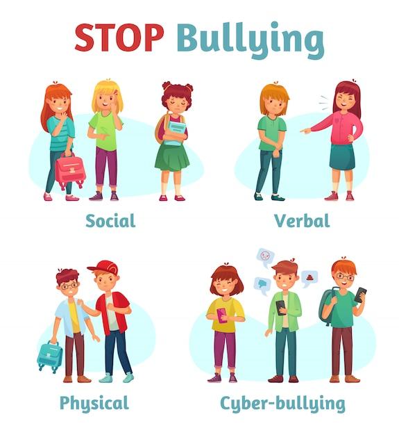 Smetti di bullismo a scuola. spaccone adolescente aggressivo, aggressione verbale del ragazzo e violenza adolescenziale o illustrazione di tipi di bullismo Vettore Premium
