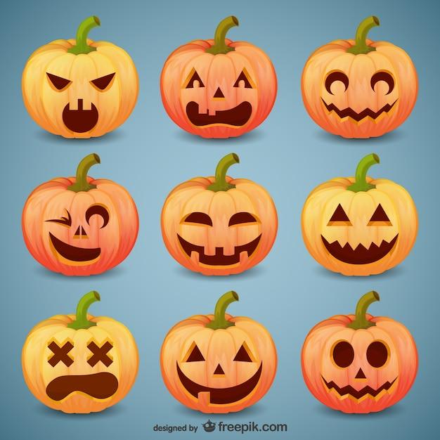 Smiley halloween zucca confezione Vettore gratuito