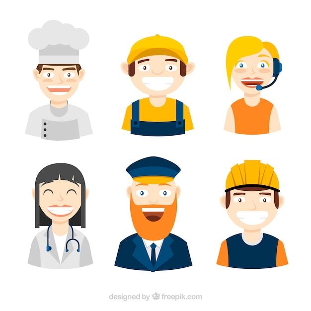 Smiley lavoratori avatars con disegno piatto Vettore gratuito