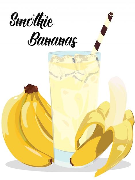 Smothie banana ice con banane realistiche Vettore Premium