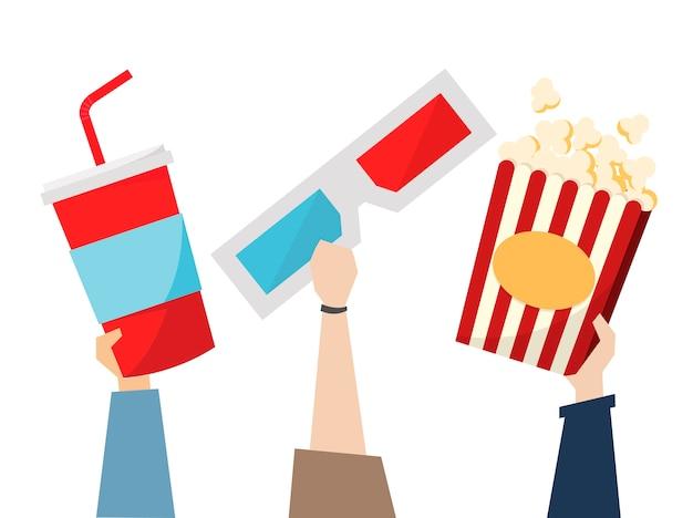 Snack e occhiali 3d per movietime Vettore gratuito