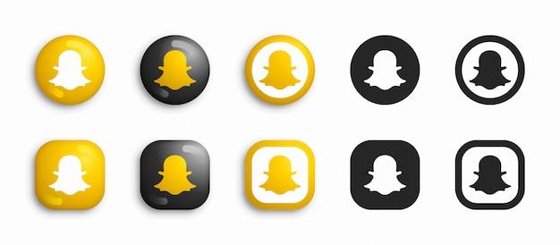 Snapchat 3d moderno e set di icone piatte Vettore Premium