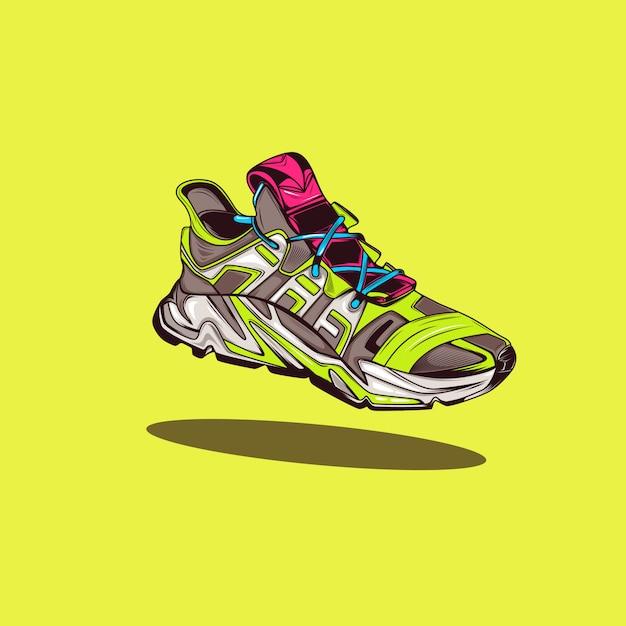 Sneaker moderna illustrazione con colori pop Vettore Premium