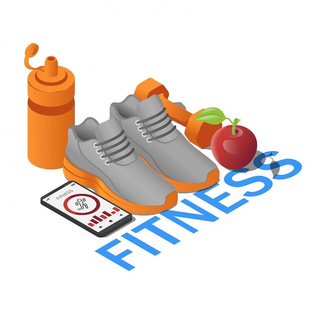 Sneaker per attrezzature fitness, smartphone con app, manubri, bottiglia d'acqua e mela in isometrica. fitness concetto con testo Vettore Premium
