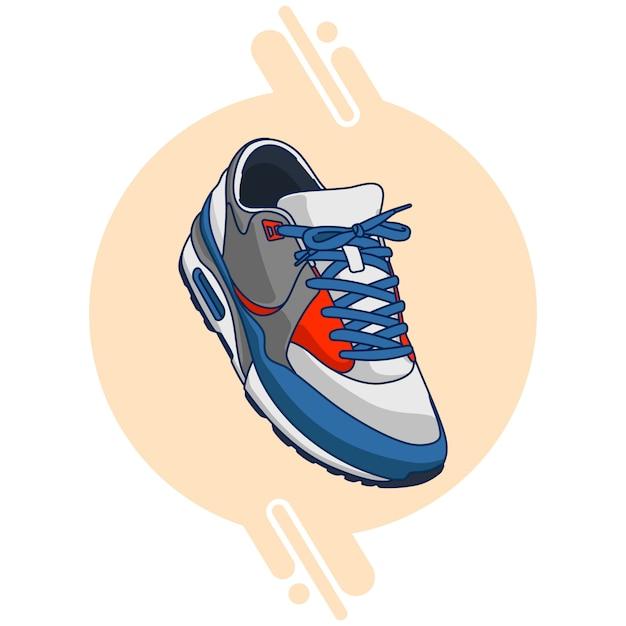 Sneakers bianche rosso blu Vettore Premium
