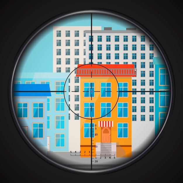 Sniper prende di mira la finestra di casa, illustrazione piatta quadrata Vettore Premium